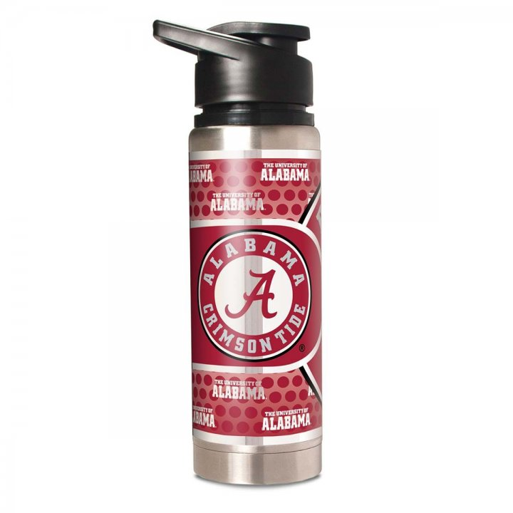Alabama Crimson Tide NCAA 20 oz Double Wall Stainless Steel Water Bottle with Metallic Graphics (Silver)