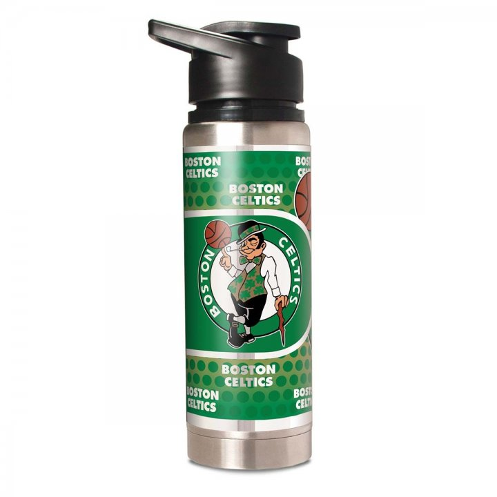 Boston Celtics NBA 20 oz Double Wall Stainless Steel Water Bottle with Metallic Graphics (Silver)