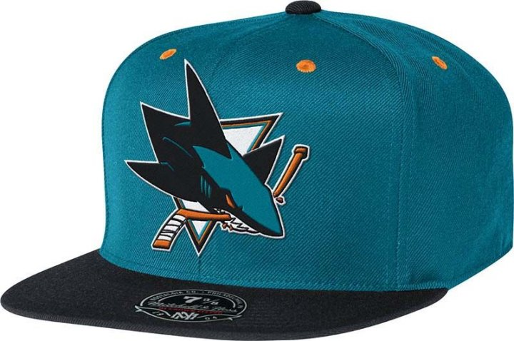 Mitchell & Ness San Jose Sharks Two Tone High Crown Fitted Hat (Teal)