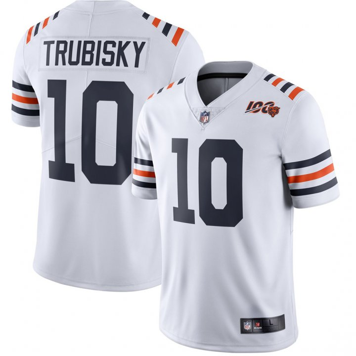 Franklin Sports Youth Kids 10 Mitchell Trubisky Chicago Bears 100th Season Jersey White