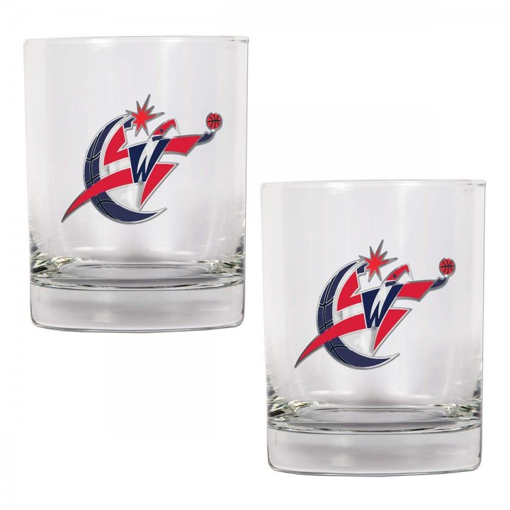 Washington Wizards NBA 2 Piece Rocks Glass Set (Clear)