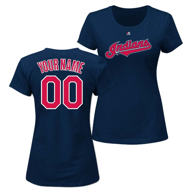 Majestic Cleveland Indians Womens Personalized Official Wordmark T-Shirt (Navy)