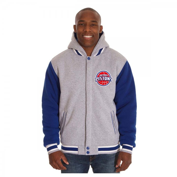 Detroit Pistons Patch Program Reversible Fleece Hooded Button Snap Jacket (Royal)
