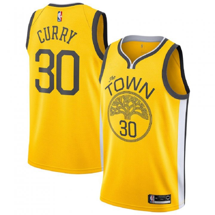 Majestic Athletic Stephen Curry #30 Golden State Warriors 2018-19 Swingman Men's Jersey Yellow