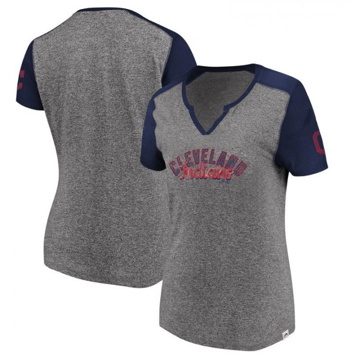 Cleveland Indians MLB Womens Invulnerable T-Shirt (Gray)