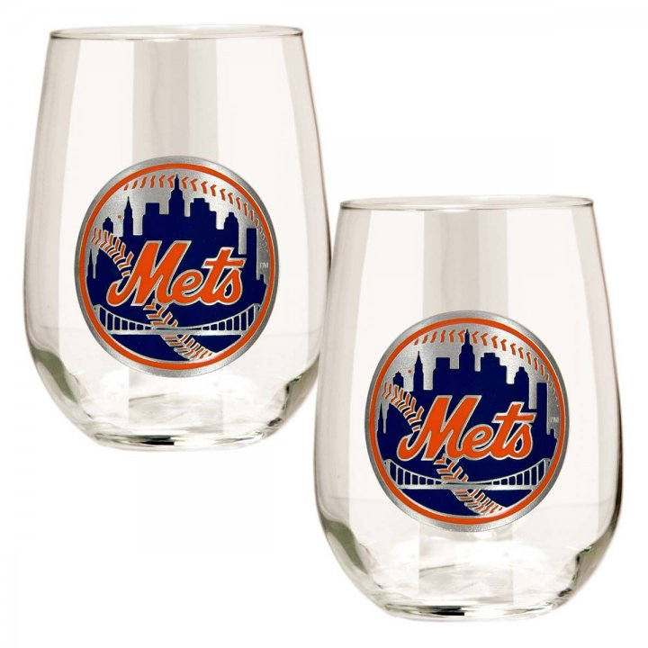 New York Mets MLB 2 Piece Stemless Wine Glass Set (Clear)