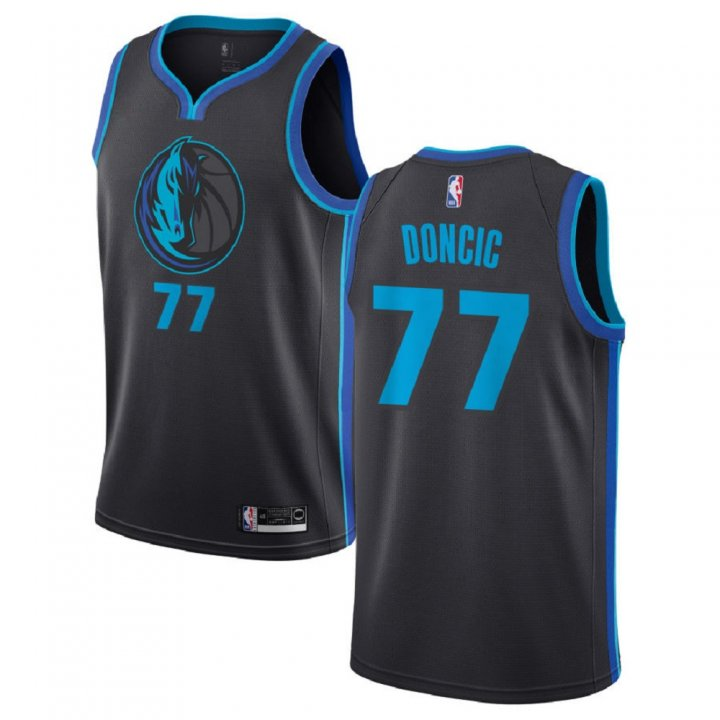 Majestic Athletic Luka Doncic #77 Dallas Mavericks 2018-19 Swingman Men's Jersey Charcoal