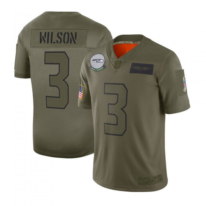 Franklin Sports Men's Russell Wilson #3 Seattle Seahawks 2019 Salute to Service Limited Jersey - Camo