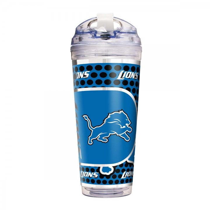 Detroit Lions 24 oz Double Wall Acrylic Travel Tumbler with Metallic Graphics (Clear)