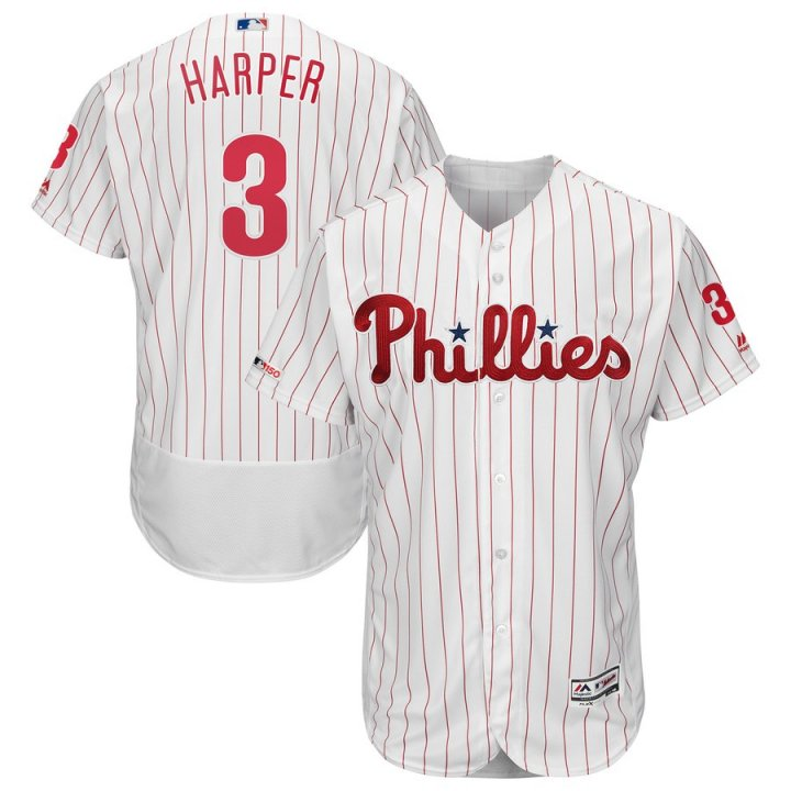Majestic Athletic Bryce Harper Philadelphia Phillies #3 Majestic Mens Home Flex Base Swingman Collection Player Jersey