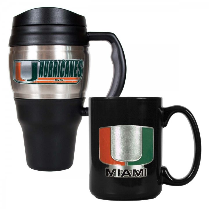 Miami Hurricanes NCAA 20 oz Heavy Duty Travel Mug and 15 oz Ceramic Mug Set (Silver/Black)