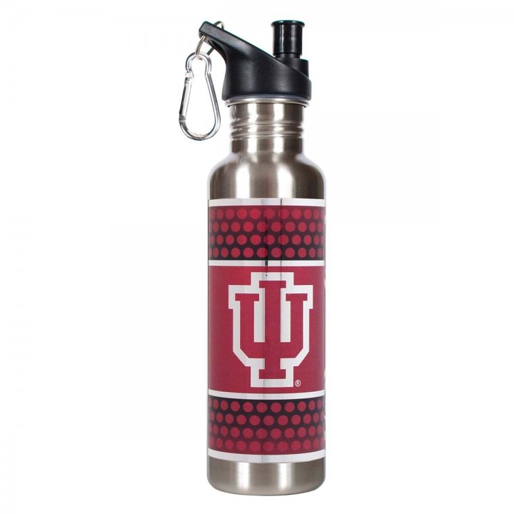 Indiana Hoosiers NCAA Indiana Hoosiers 26 oz Stainless Steel Water Bottle with Metallic Graphics (Silver)