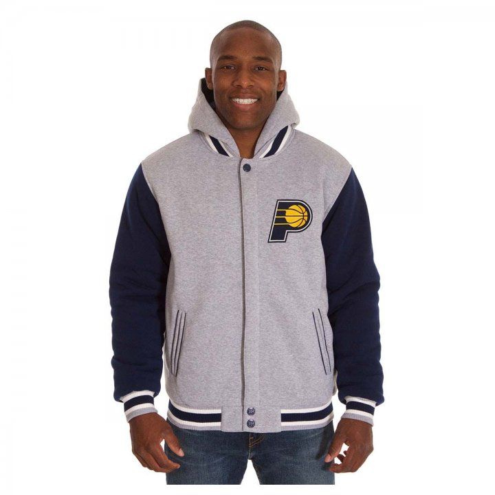 Indiana Pacers Patch Program Reversible Fleece Hooded Button Snap Jacket (Navy)