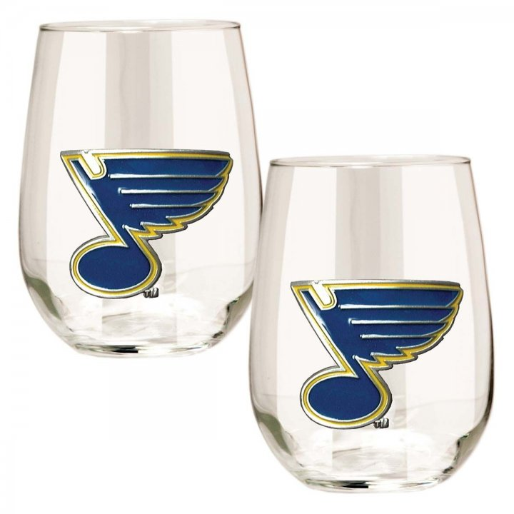 St Louis Blues NHL 2 Piece Stemless Wine Glass Set (Clear)