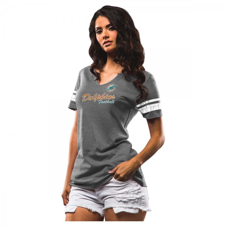 Miami Dolphins NFL Womens Game Tradition Tee (Charcoal)