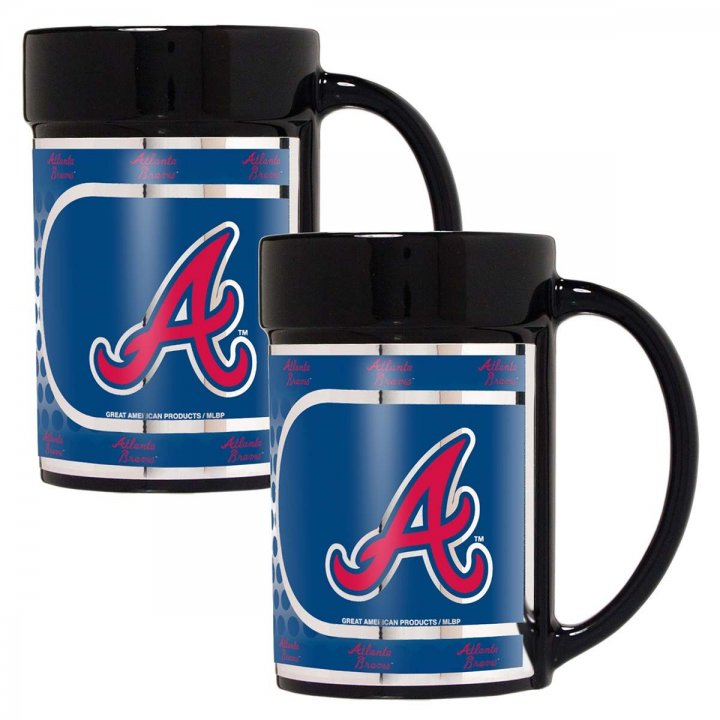 Atlanta Braves MLB 2 Piece Coffee Mug Set with Metallic Graphics (Black)