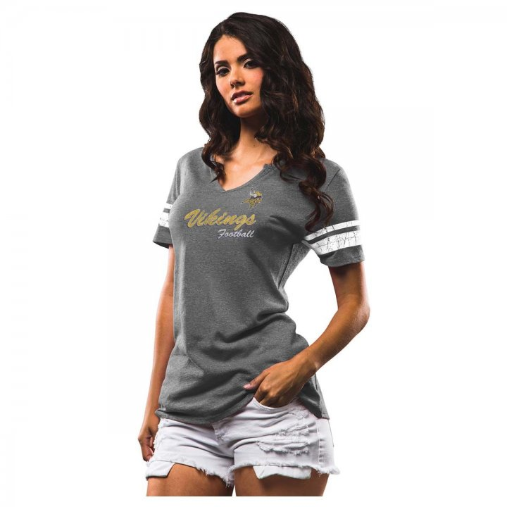 Minnesota Vikings NFL Womens Game Tradition Tee (Charcoal)