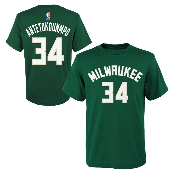 Milwaukee Bucks NBA Giannis Antetokounmpo Youth Flat Basic Name & Number Tee (Green)