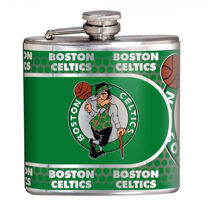 Boston Celtics 6 oz Stainless Steel Hip Flask with Metallic Graphics (Silver)