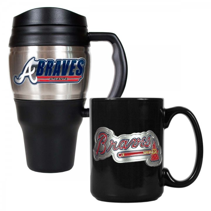 Atlanta Braves MLB 20 oz Heavy Duty Travel Mug and 15 oz Ceramic Mug Set (Silver/Black)