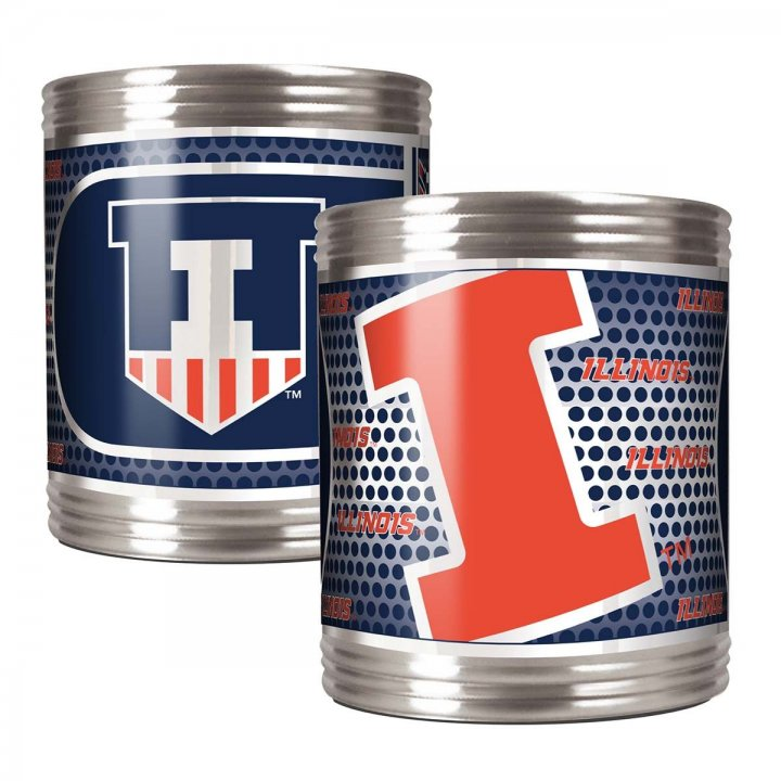 Illinois Fighting Illini NCAA 2 Piece Stainless Steel Can Holder Set with Metallic Graphics (Silver)