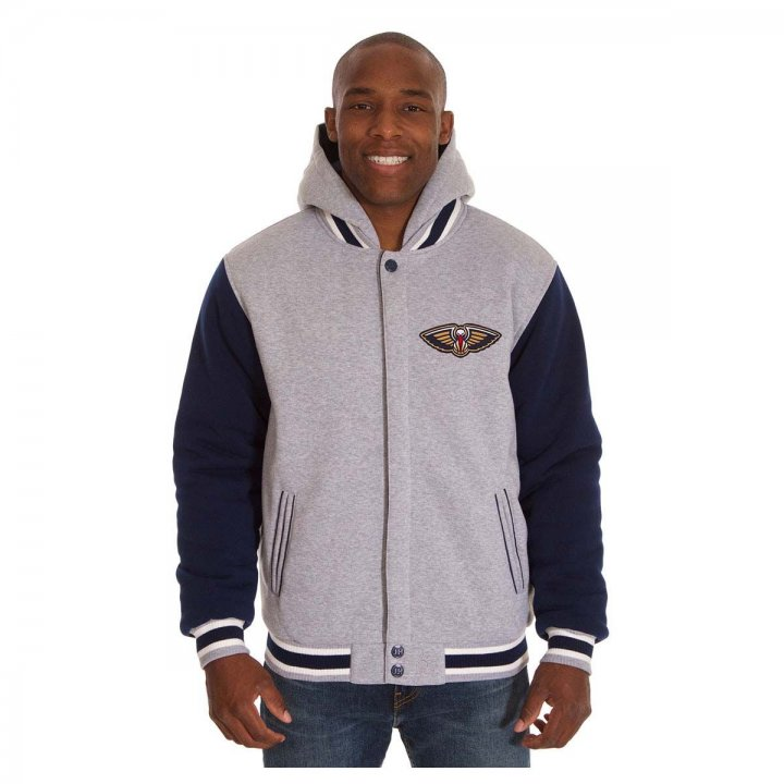 New Orleans Pelicans Patch Program Reversible Fleece Hooded Button Snap Jacket (Navy)