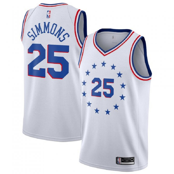 Franklin Sports Ben Simmons #25 Philadelphia 76ers 2018-19 Swingman Men's Jersey White
