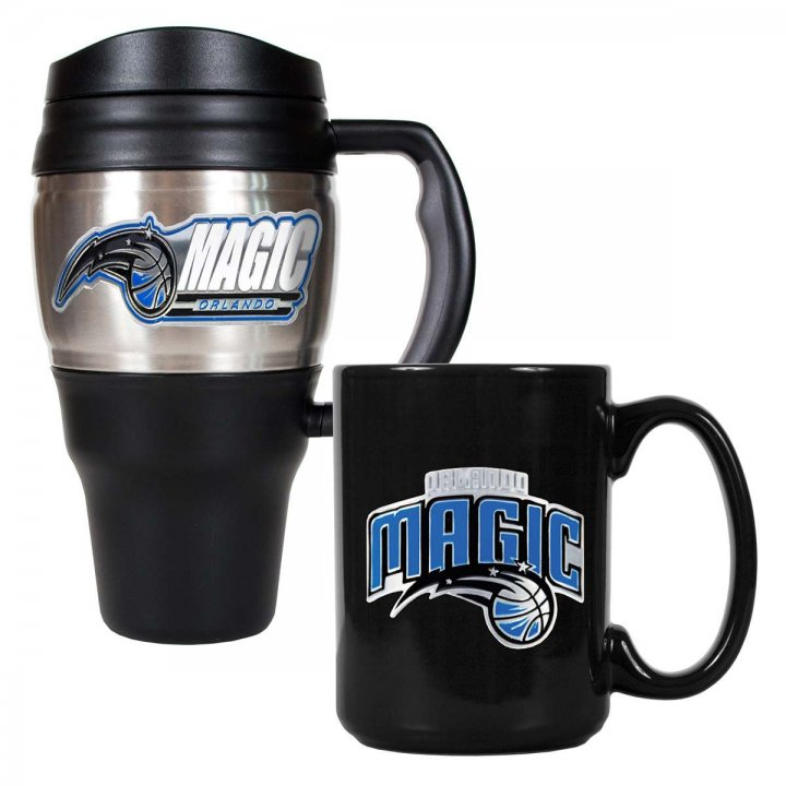 Orlando Magic NBA 20 oz Heavy Duty Travel Mug and 15 oz Ceramic Mug Set (Silver/Black)