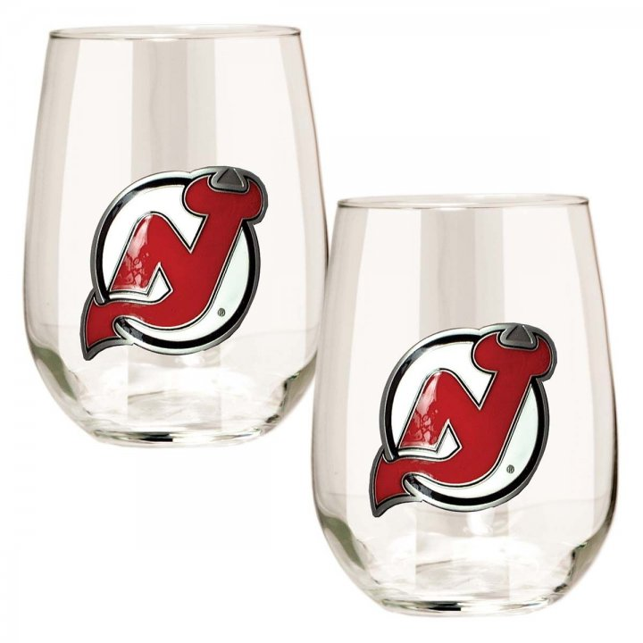 New Jersey Devils NHL 2 Piece Stemless Wine Glass Set (Clear)