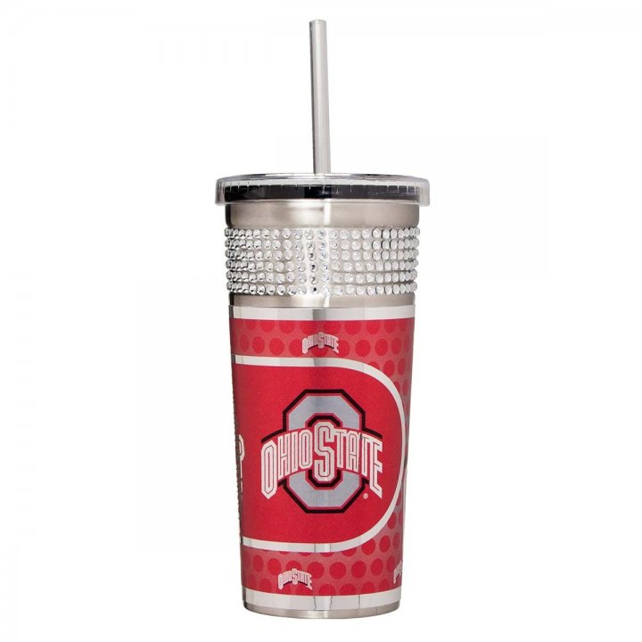 Ohio State Buckeyes NCAA 16 oz Silver Bling Tumbler with Straw (Silver)