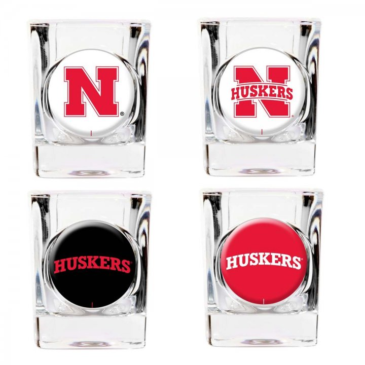 Nebraska Cornhuskers NCAA 4 Piece Collector's Shot Glass Set (Clear)
