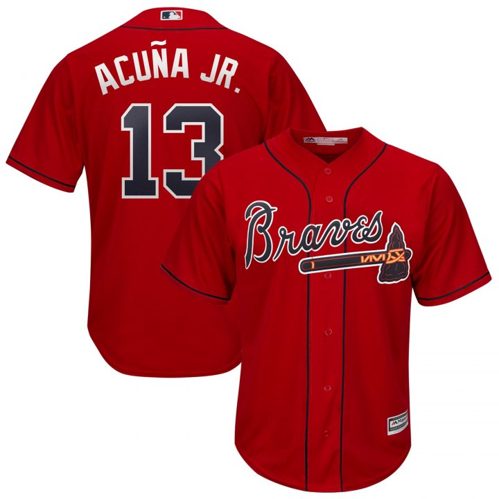Outerstuff Youth Kids Atlanta Braves 13 Ronald Acuna Jr 2019 Baseball Jersey Red