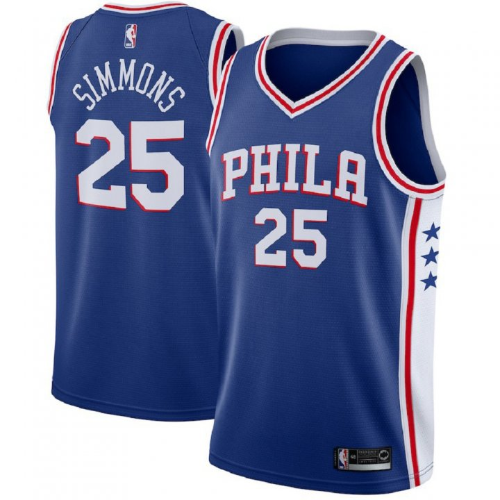Majestic Athletic Men's Ben Simmons Philadelphia 76ers 25# Swingman Blue Jersey