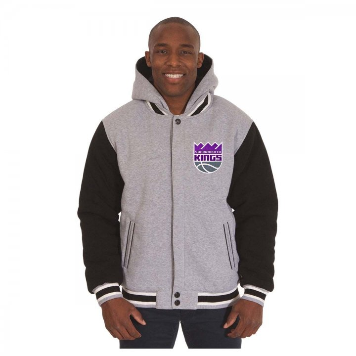 Sacramento Kings Patch Program Reversible Fleece Hooded Button Snap Jacket (Black)
