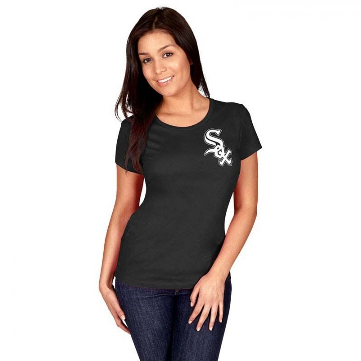 Chicago White Sox MLB Womens Official Wordmark Crew Neck T-Shirt (Black)