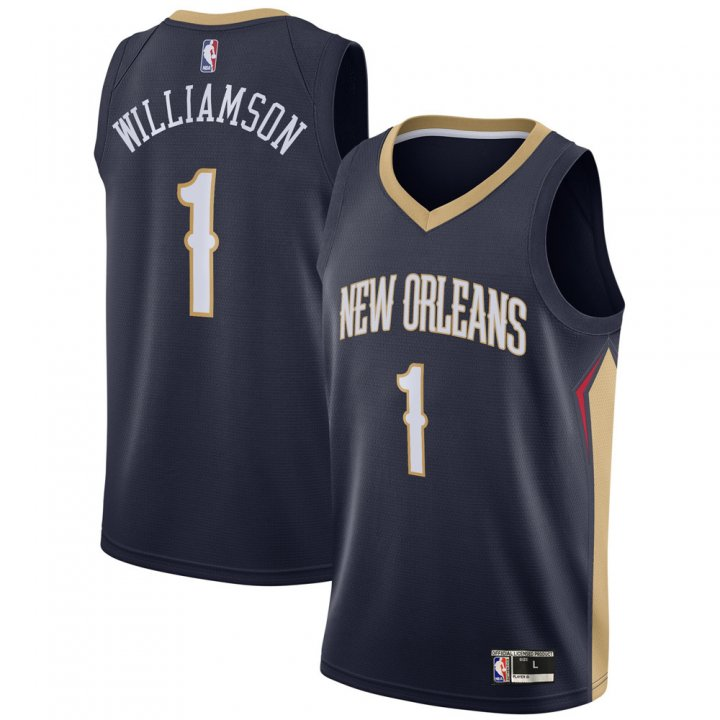 Franklin Sports Youth Kids 1 Zion Williamson New Orleans Pelicans Jersey Navy Blue