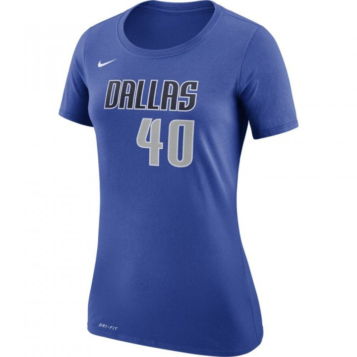 Dallas Mavericks NBA Harrison Barnes Womens Nike Shootaround Name & Number Tee (Royal)