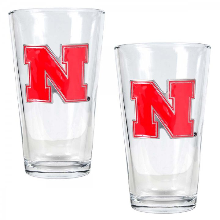 Nebraska Cornhuskers NCAA 2Pc Pint Glass Set (Clear)