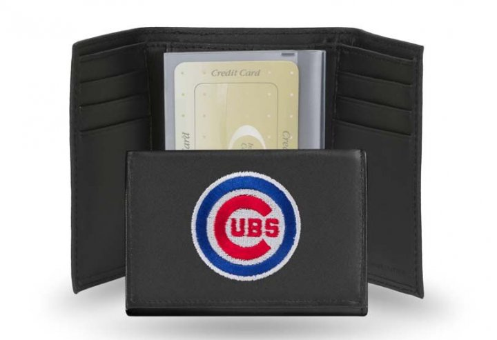 Chicago Cubs MLB Leather Trifold Wallet (Black)