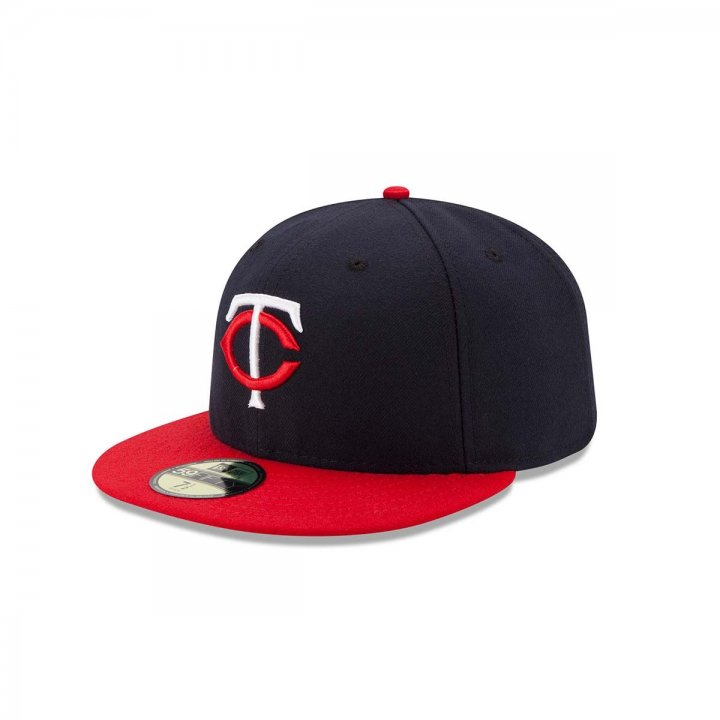 New Era Minnesota Twins Road Authentic Collection Fitted Hat (Navy)