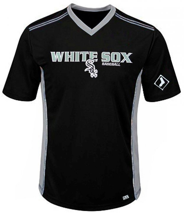 VF Chicago White Sox MLB Mens Cool Base Performance V Neck Jersey Black Big Sizes