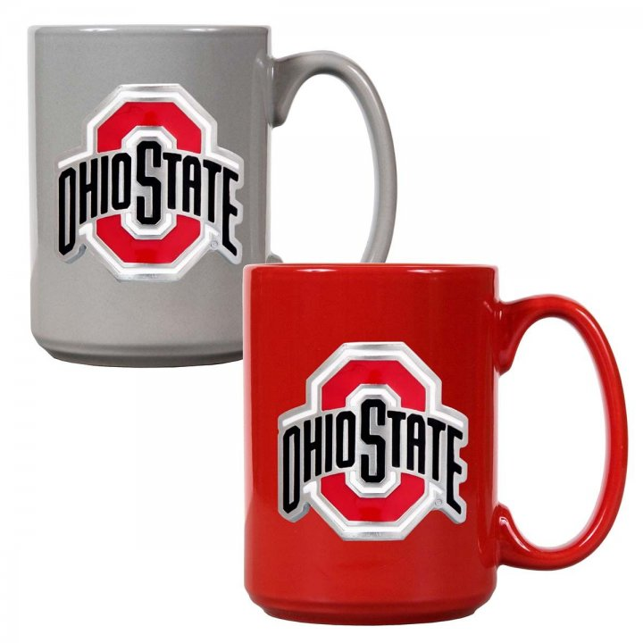 Ohio State Buckeyes NCAA 2 Piece Color Coffee Mug Set (Red/Grey)