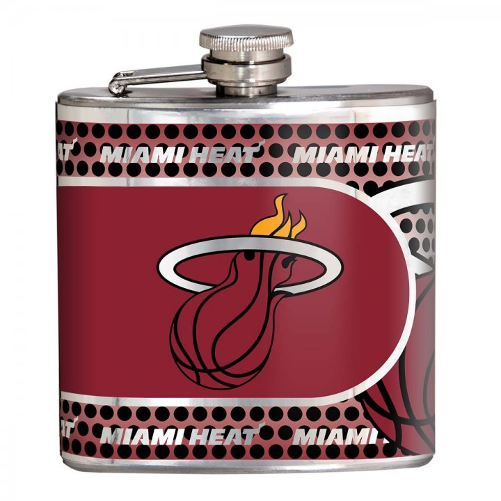 Miami Heat 6 oz Stainless Steel Hip Flask with Metallic Graphics (Silver)