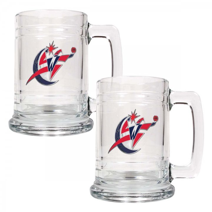 Washington Wizards NBA 2 Piece Glass Tankard Set (Clear)