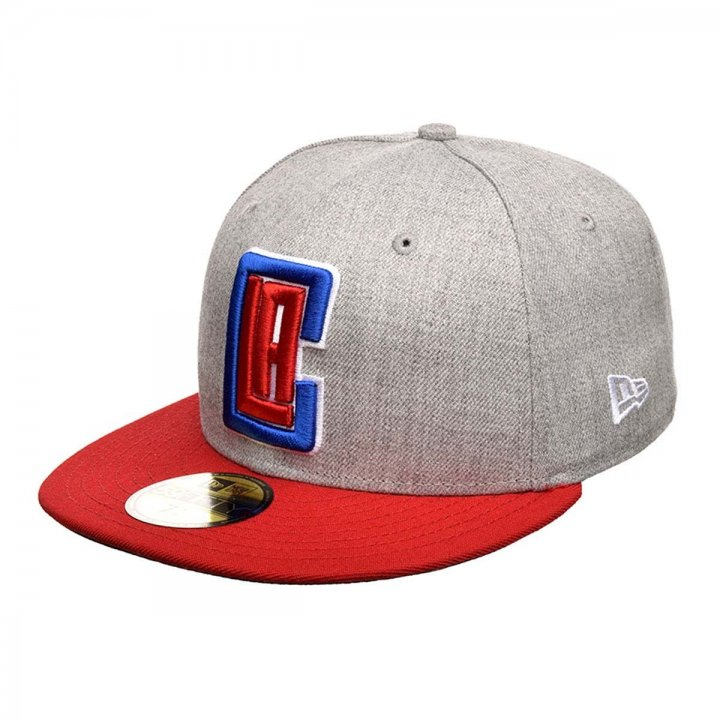 New Era Los Angeles Clippers 2Tone Heather Gray Red 59Fifty Fitted Hat (Gray)