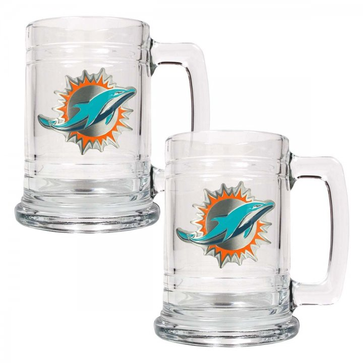 Miami Dolphins NFL 2 Piece Glass Tankard Set (Clear)