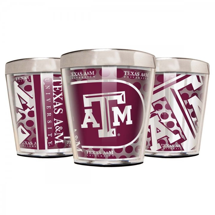 Texas A&M Aggies NCAA 3 Piece Stainless Steel & Acrylic Shot Glass Set with Metallic Graphics (Silver)