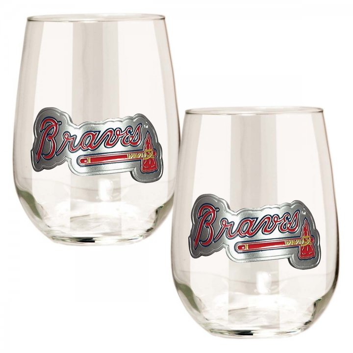 Atlanta Braves MLB 2 Piece Stemless Wine Glass Set (Clear)