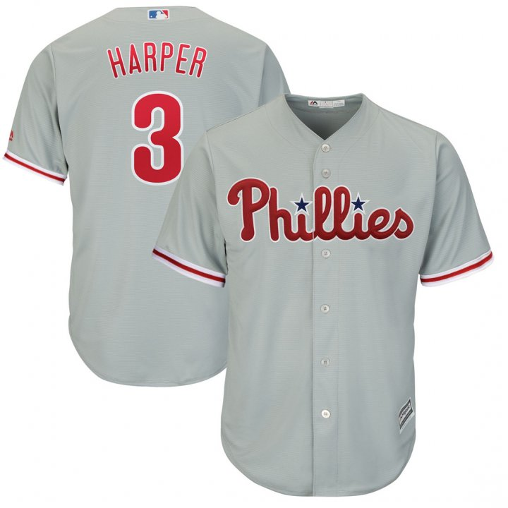 Outerstuff Youth Kids Philadelphia Phillies 3 Bryce Harper Player Baseball Jersey Gray