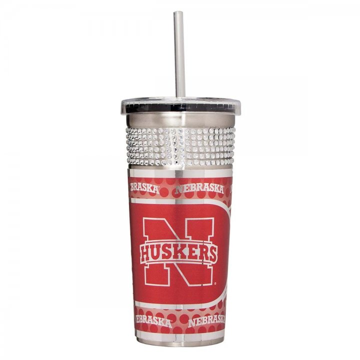 Nebraska Cornhuskers NCAA 16 oz Silver Bling Tumbler with Straw (Silver)